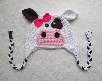 Crochet Cow Hat - Farm Animals - Photo Prop - Available in Any Size or Color Combination