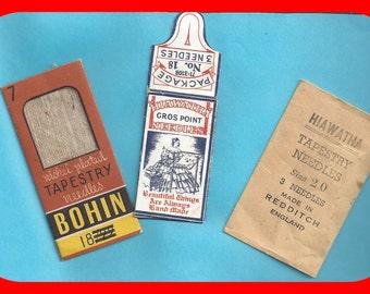 Vintage Tapestry Needle Envelopes 1900s Hiawatha Bohin