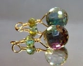 2 Faceted crystal wrapped bead drop dangles pamelia designs diy jewelry making earrings charms