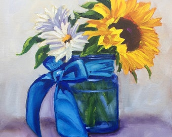 Original oil painting:  Blue Bow Bouquet with Sunflowers and Daisies, Mason jar, deep canvas, floral, still life