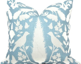 Sky Blue Chenonceau Pillow Covers 18x18, 20x20 or 22x22 Eurosham or Lumbar Pillow, Schumacher Made to order pillow cover throw