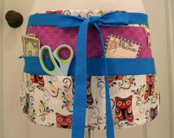 Teacher Crafter Vendor Utility Apron-Paisley Owls