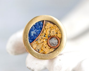 New Age Copper and Brass Ring - Signed Philos