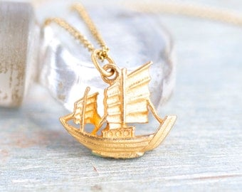 Sailing Necklace - Tiny Oriental Ship Pendant on a chain - Vintage Nautical Jewelry