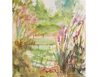 Reeds of Summer at Horseshoe Lake II- 9 by 12 inch watercolor