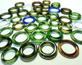 Recycled  Multi Colors Recycled Kiln Polished Bottle Rings 36 Rings (R936)