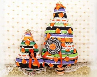 """Set of 2 Fabric Trees 7"""" and  5"""" Free Standing Candy Corn Halloween Stripes Print Tree Ornaments Christmas Home Decor CharlotteStyle"""