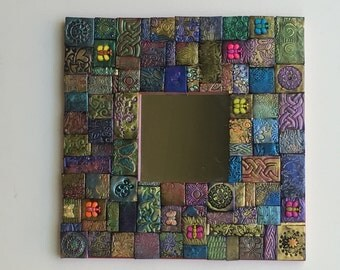 Polymer clay mosaic butterfly mirror