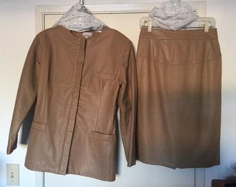 Vintage Bullock's Emphasis Beige Khaki Leather Suit Jacket and Skirt Set Size 10