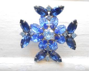 Vintage Blue Maltese Cross Rhinestone Brooch, Pin, Royal Blue, Prongset, Large, Statement, Layered