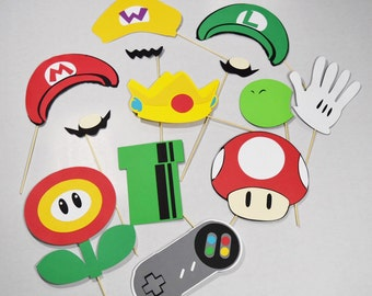 Mario photobooth props 14 pc**