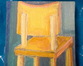 Wooden Classroom Chair Tiny Stretched Canvas Acrylic Painting