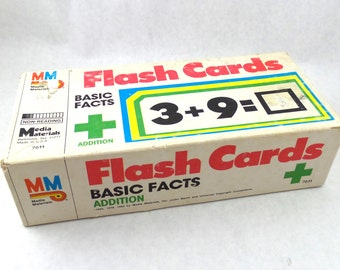 Vintage Flashcards Basic Facts Addition Teacher Student 1985 School Classroom Aid Math Supplies Media Materials