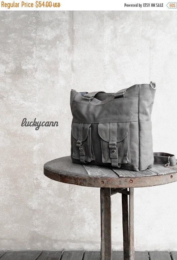 20% SALE back to school BAILEY // Dark Grey / Lined with Dark Grey / 021 // Ship in 3 days // Messenger / Diaper bag / Shoulder bag / Tote b