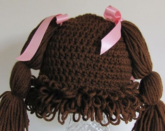 Walnut Cabbage Patch hat/wig  18 mon to 2+ years