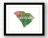 Charleston SC print | Charleston print | watercolor state art | Charleston art | Charleston, South Carolina home decor | Charleston SC art