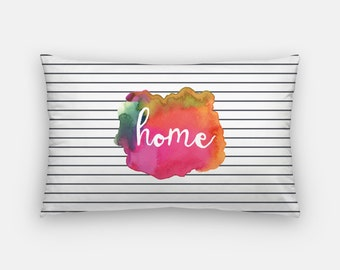 watercolor art | watercolor pillows | pink and orange pillow | throw pillows | home pillow | lumbar pillow | trendy pillows | home decor