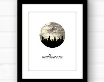 Melbourne, Australia | Melbourne print | Melbourne map | Melbourne art | Melbourne skyline print | travel poster | map art