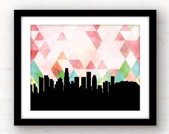 Los Angeles art | geometric Los Angeles print | Los Angeles skyline | geometric LA print | LA, California wall art | California print