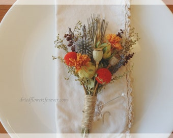 Dried & Preserved Flower Corsage - Fall Wedding - Orange, Brown, Gray Blue - Tequila Sunrise Collection