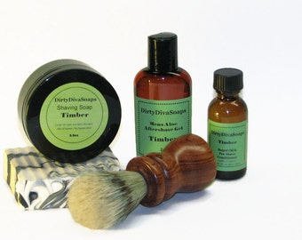 Large Mens Shaving Gift Set with Shea butter Soap, Shave Soap, Pre Shave Oil and Aftershave in Timber