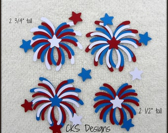 Die Cut July 4th Fireworks Scrapbook Page Embellishments for Card Making Scrapbook or Paper Crafts