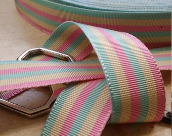 "7/8"" Vintage Stripe Straight edge woven Millinery Ribbon Trim Pastels pink, yellow, green"