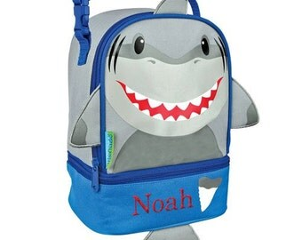 Personalized Shark Lunch Pal [back to school, lunch box, lunch bag, boys, shark, insulated, embroidered, blue, compartments] - E000277