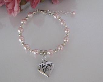 Flower Girl Pearl Bracelet-Pink Pearl Flower Girl Bracelet-Flower Girl Bracelet-Junior Bridesmaid Pearl Bracelet-Custom Flower Girl Bracelet