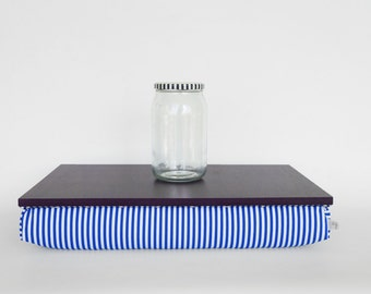 Decorative tray with pillow, laptop stand, bed tray- dark plum purple with blue and white striped Pillow