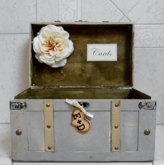 Large Wedding Gift Card Box : Large Wedding Card Box / Wedding Trunk Card Holder / Grey Card Box ...