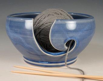 Yarn / Knitting Bowl - Sapphire Glaze - Wheel Thrown Stoneware by Seiz Pottery