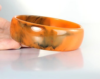 Pumpkin Bakelite Bangle, Orange Black Marbled Bakelite Bracelet vintage Mod jewelry