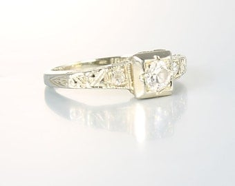 Antique Diamond Engagement Ring, 18K White Gold Art Deco Wedding Ring, Size 4 Ring antique jewelry