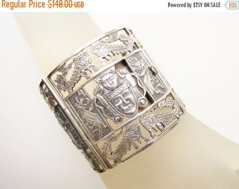 SaLe Large Peruvian Inca Sterling Panel Bracelet signed Farro 2 inches tall Open Work
