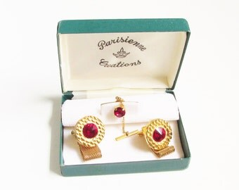 Vintage Red Rivoli Rhinestone Cuff Links Tie Tack Original Box 1960s Mod Mesh Chain