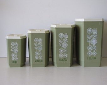 Vintage Avacado Green Canisters - Set of Four - with floral design