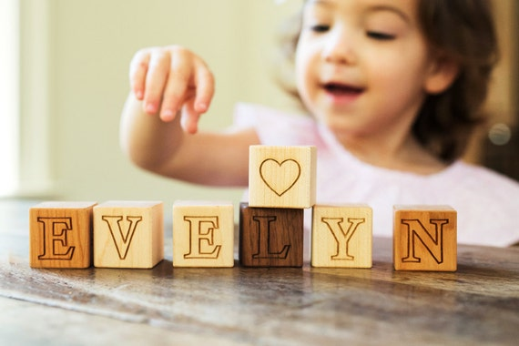 personalized wooden name block sets - natural wood toys, hardwood letter alphabet blocks for baby and toddler, any number 1 -40 blocks