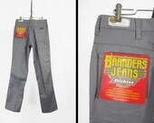 Vintage NOS Dickies Pants Grey Jeans 1970s Branders Denim 70s Deadstock - 34 x 34