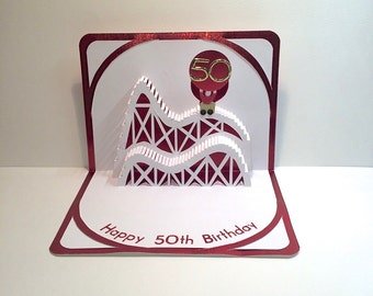 50th BIRTHDAY 3D Pop Up Roller Coaster Card CUSTOM ORDER Handmade in White and Bright Metallic Shimmery Red