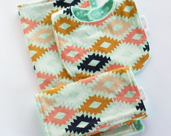 Aztec Baby Gift Set, Minky Baby Bib, Burp Cloth, Lovey Security Blanket, Tribal Baby Shower Gift, Peach Gold Mint Navy, Arizona Agave Field