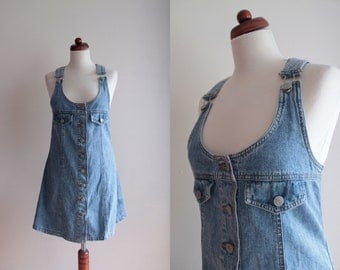 Vintage Denim Dress - 1990s Blue Dress - Jean Dress Romper - Size S