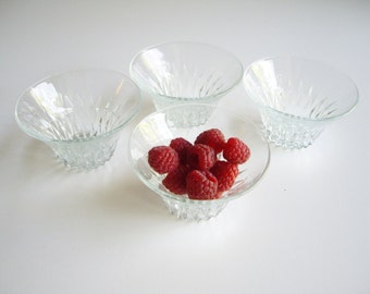 Vintage, Clear Duralex, Dessert Bowls, Dessert Cups, Diamond Pattern, Duralex France, Small Bowls, Pressed Crystal, French Glass, Set of 4