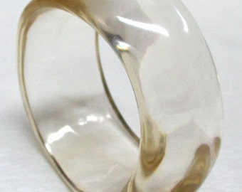Vintage 70s Chunky Carved Clear Lucite Cuff Bracelet