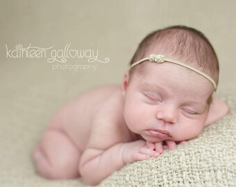 Gold Crusted Headband - Halo Headband - Bohemian Inspired - Baby Girl - Newborn Photo Prop Adult - Toddler - Gilded Gold - Simple - Flower