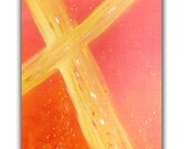 "Original Abstract Christian Fine Art Painting, 16 x 20 Acrylic Gallery Wrap Canvas "" Gold Cross"" by Linda Miller, FREE Shipping"