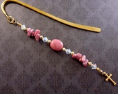 Handmade Pink Rhodonite Beaded Bookmark with Swarovski Crystal and Cross Charm, Religious Christian Bookmarker