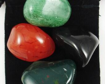 REFRESH, REVIVE, REJUVENATE Tumbled Crystal Healing Set - 4 Gemstones w/Description Pouch - Aventurine, Bloodstone, Carnelian, Onyx