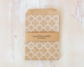 """Patterned / Brown Kraft Small Flat Bags Mix - 175 pc - 4"""" x 5.25"""""""