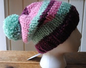 Adult - Turquoise, pink,purple pompom hat (ready to ship)
